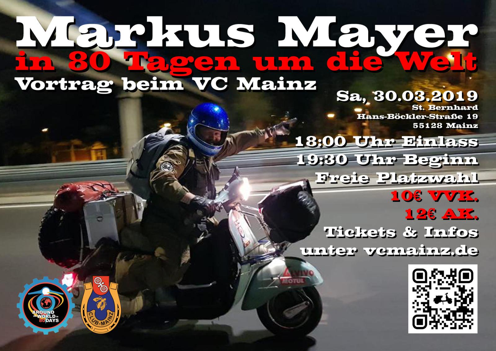 """Vortrag """"In 80 Tagen um die Welt"""" - Markus Mayers Weltumrundung mit der Vespa"""